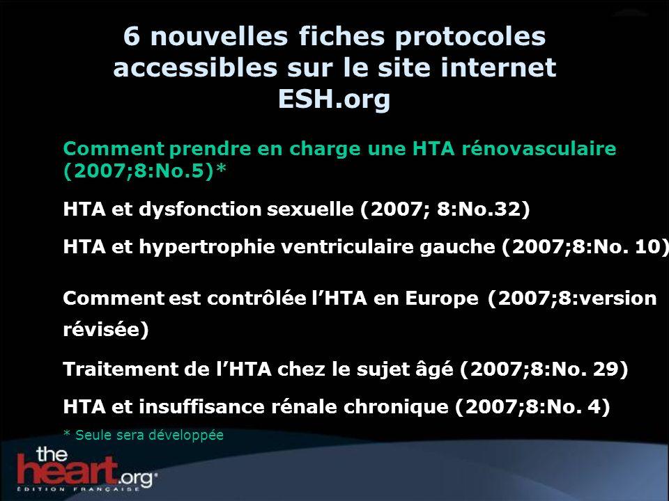 6 nouvelles fiches protocoles accessibles sur le site internet ESH.org