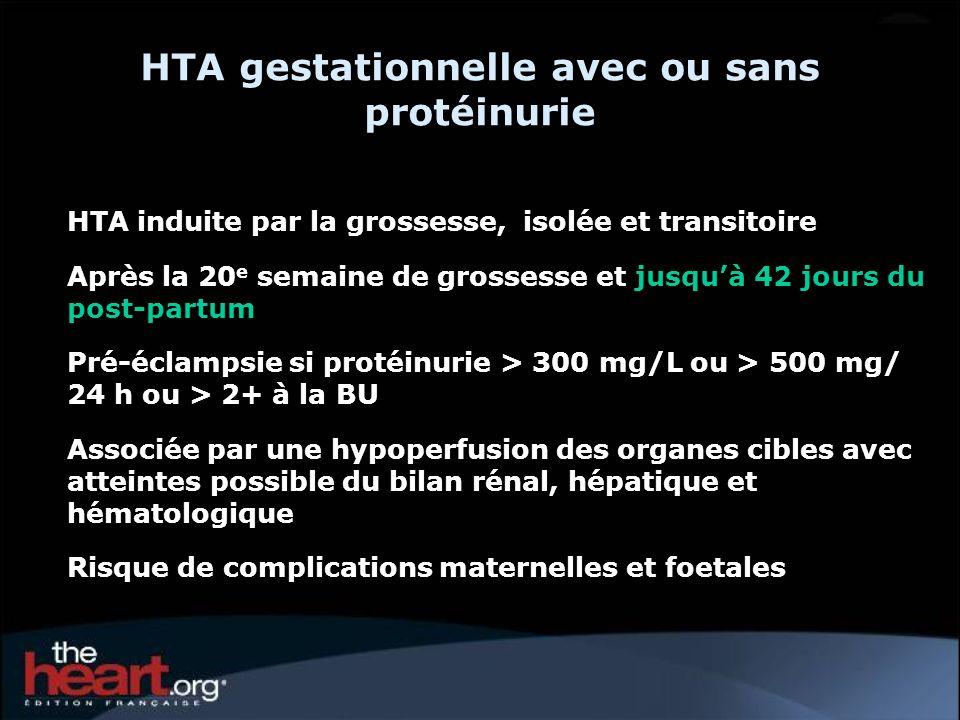 HTA gestationnelle avec ou sans protéinurie