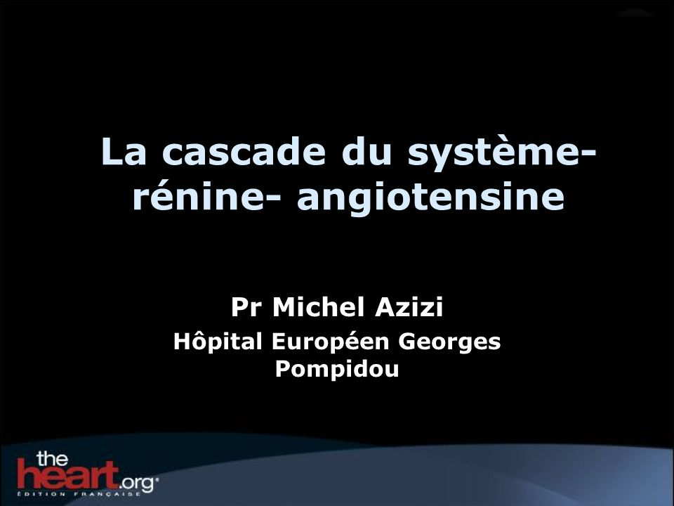 La cascade du système-rénine- angiotensine