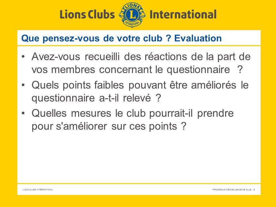 Que pensez-vous de votre club Evaluation