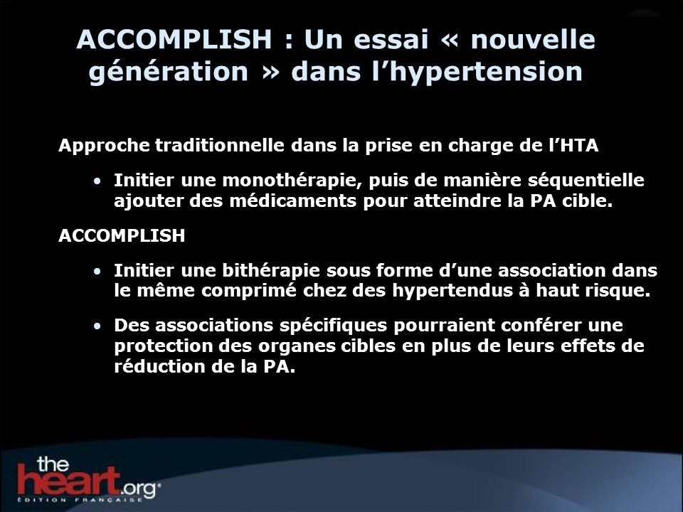 ACCOMPLISH : Un essai « nouvelle génération » dans l'hypertension