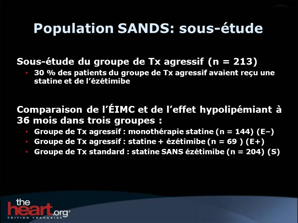 Population SANDS: sous-étude