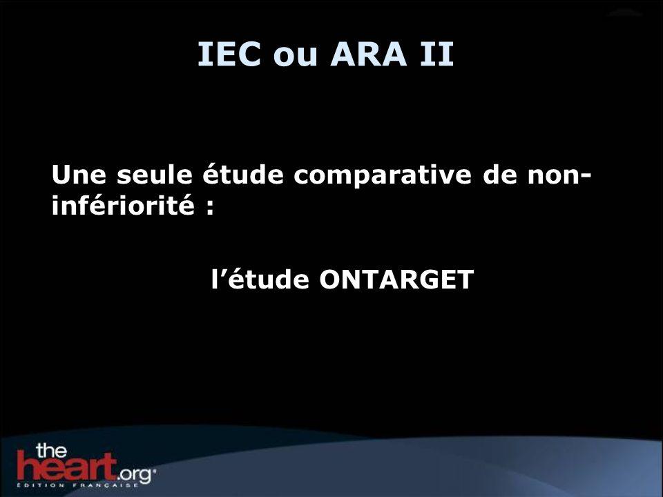 IEC ou ARA II Une seule étude comparative de non-infériorité :