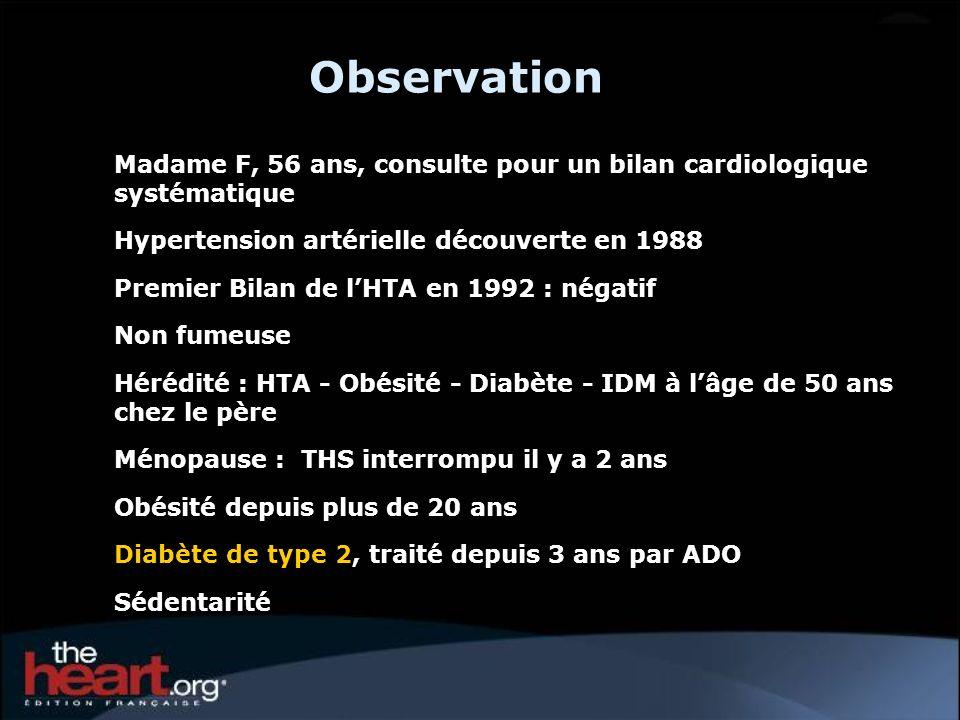 ObservationMadame F, 56 ans, consulte pour un bilan cardiologique systématique. Hypertension artérielle découverte en 1988.