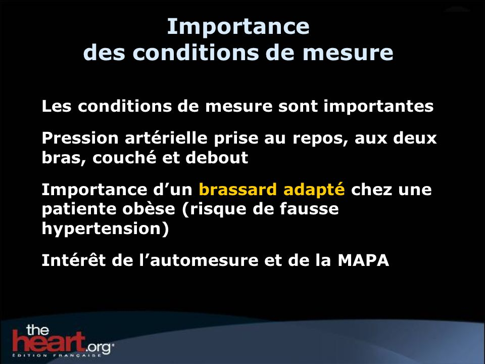 Importance des conditions de mesure
