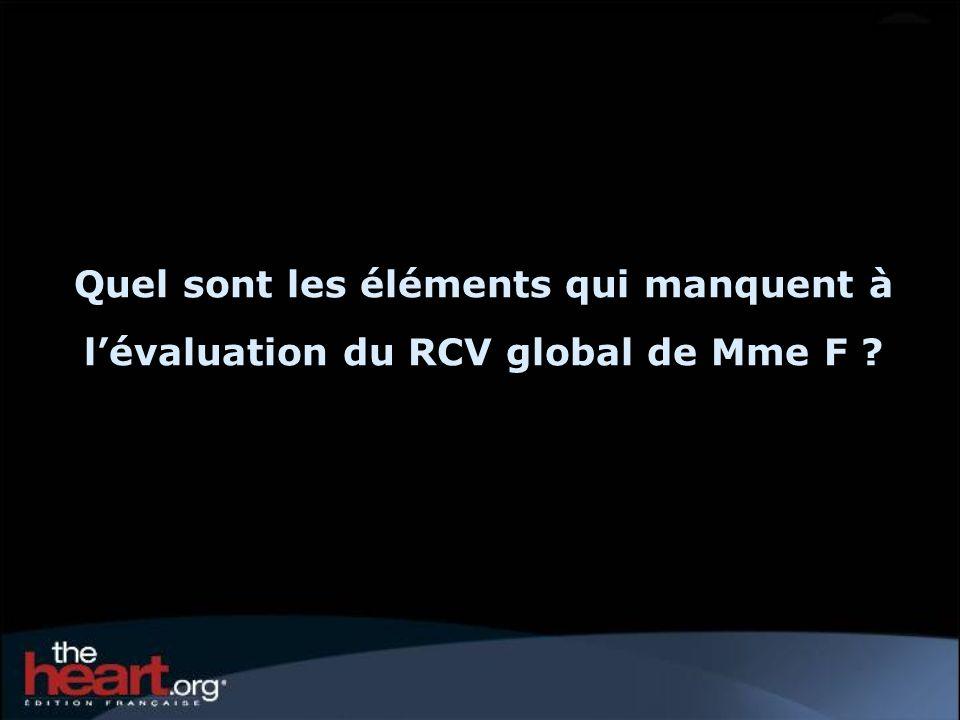 Quel sont les éléments qui manquent à l'évaluation du RCV global de Mme F