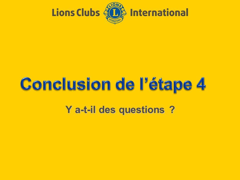 Conclusion de l'étape 4 Y a-t-il des questions
