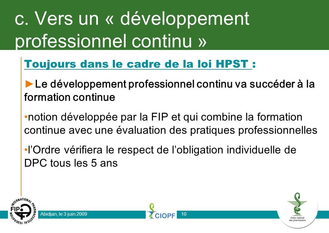 c. Vers un « développement professionnel continu »