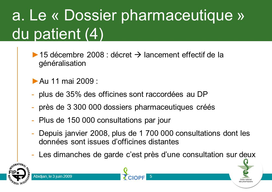 a. Le « Dossier pharmaceutique » du patient (4)