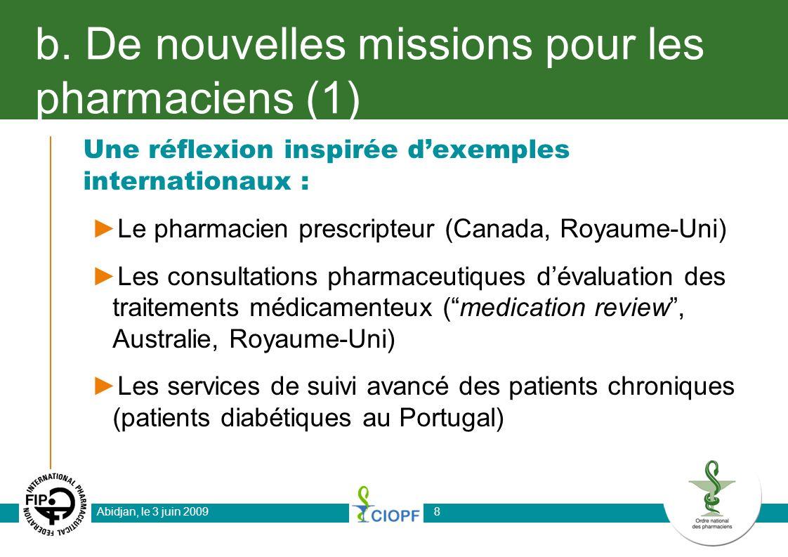 b. De nouvelles missions pour les pharmaciens (1)
