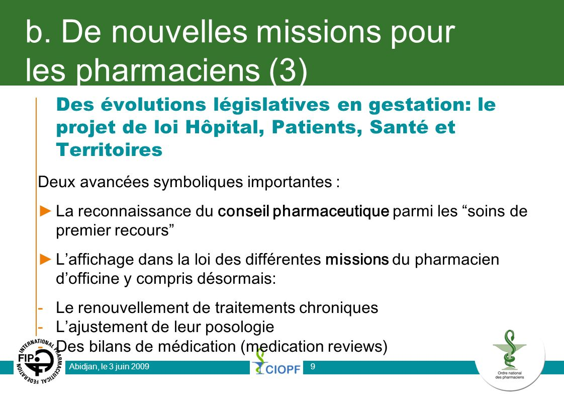 b. De nouvelles missions pour les pharmaciens (3)