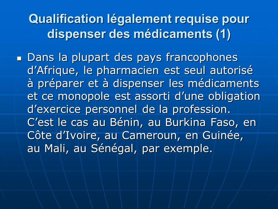 Qualification légalement requise pour dispenser des médicaments (1)