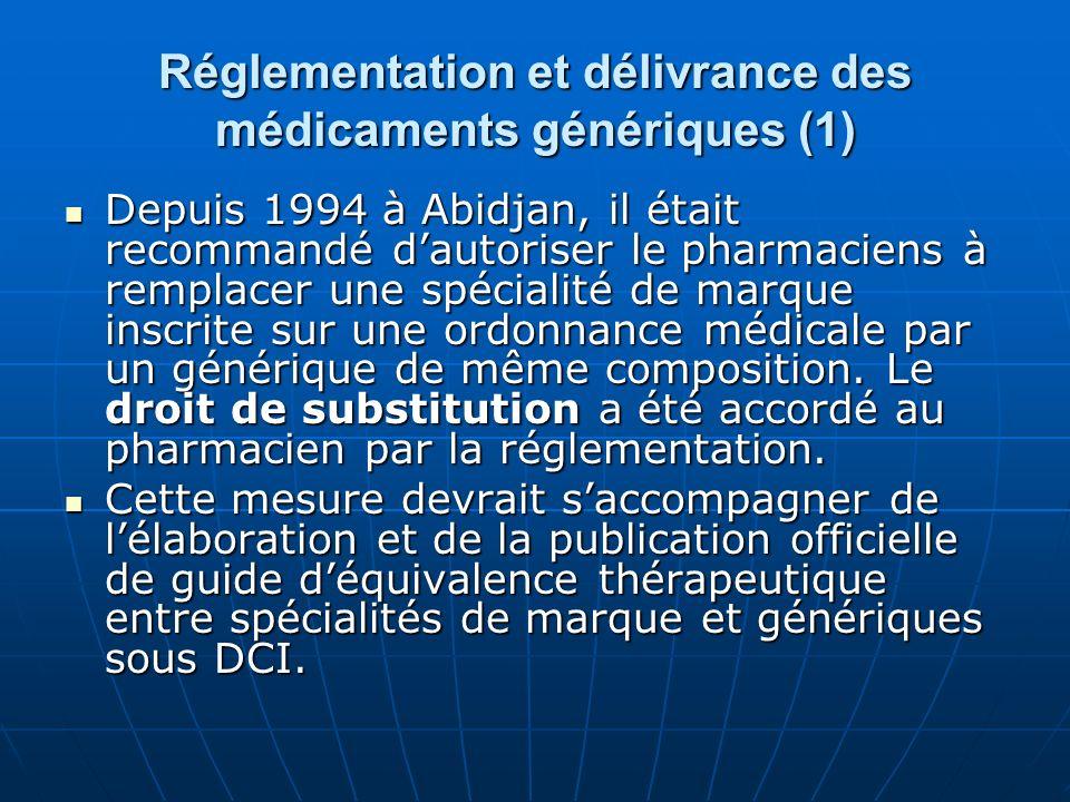 Réglementation et délivrance des médicaments génériques (1)