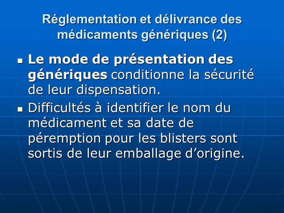 Réglementation et délivrance des médicaments génériques (2)