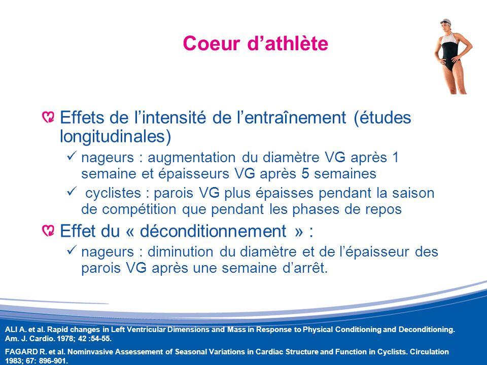 Coeur d'athlète Effets de l'intensité de l'entraînement (études longitudinales)