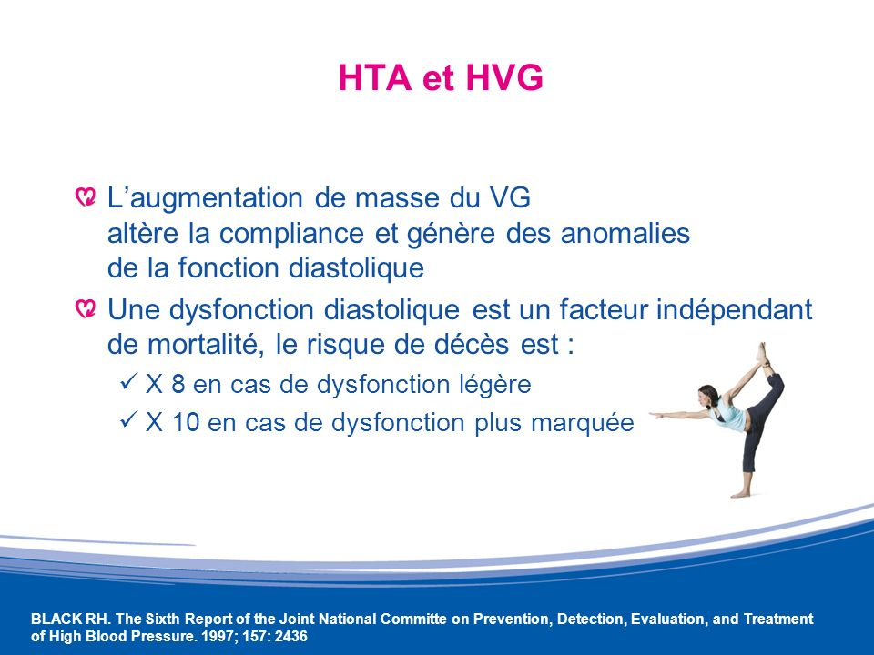 HTA et HVG L'augmentation de masse du VG altère la compliance et génère des anomalies de la fonction diastolique.