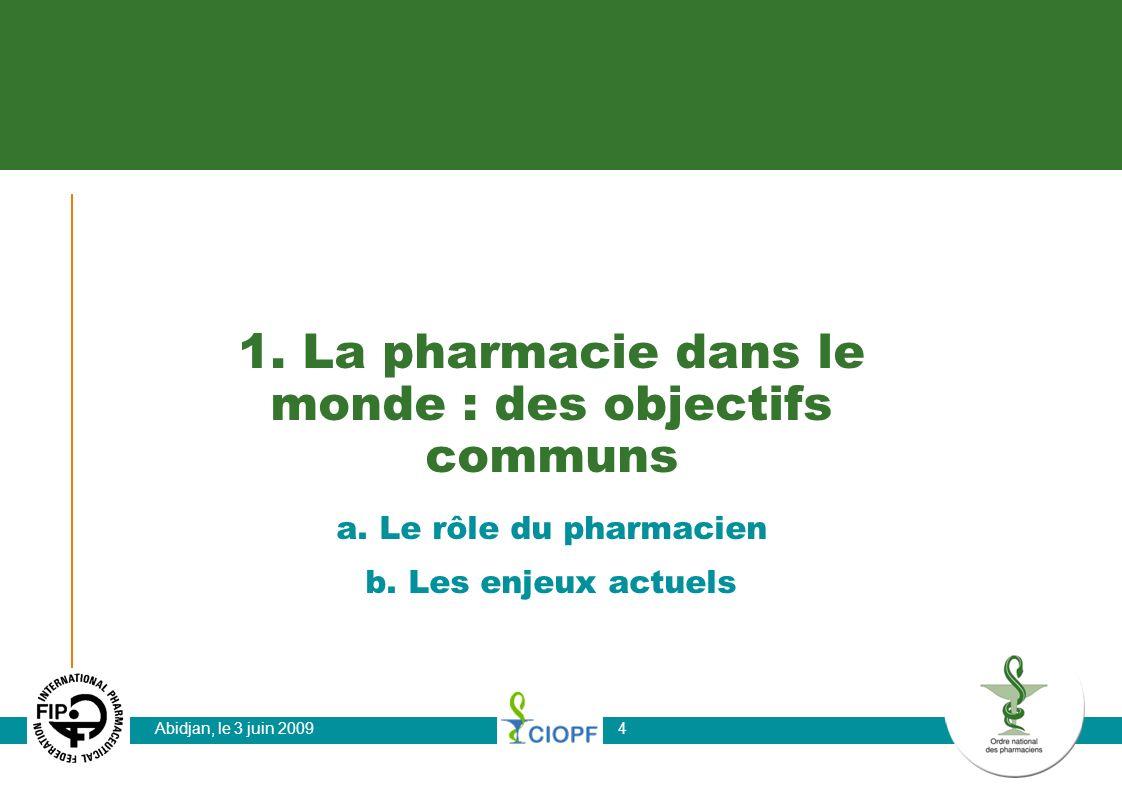 1. La pharmacie dans le monde : des objectifs communs
