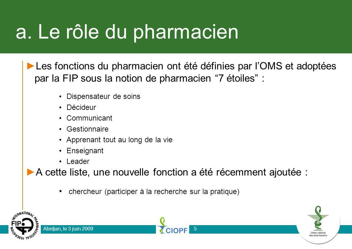 a. Le rôle du pharmacien Les fonctions du pharmacien ont été définies par l'OMS et adoptées par la FIP sous la notion de pharmacien 7 étoiles :
