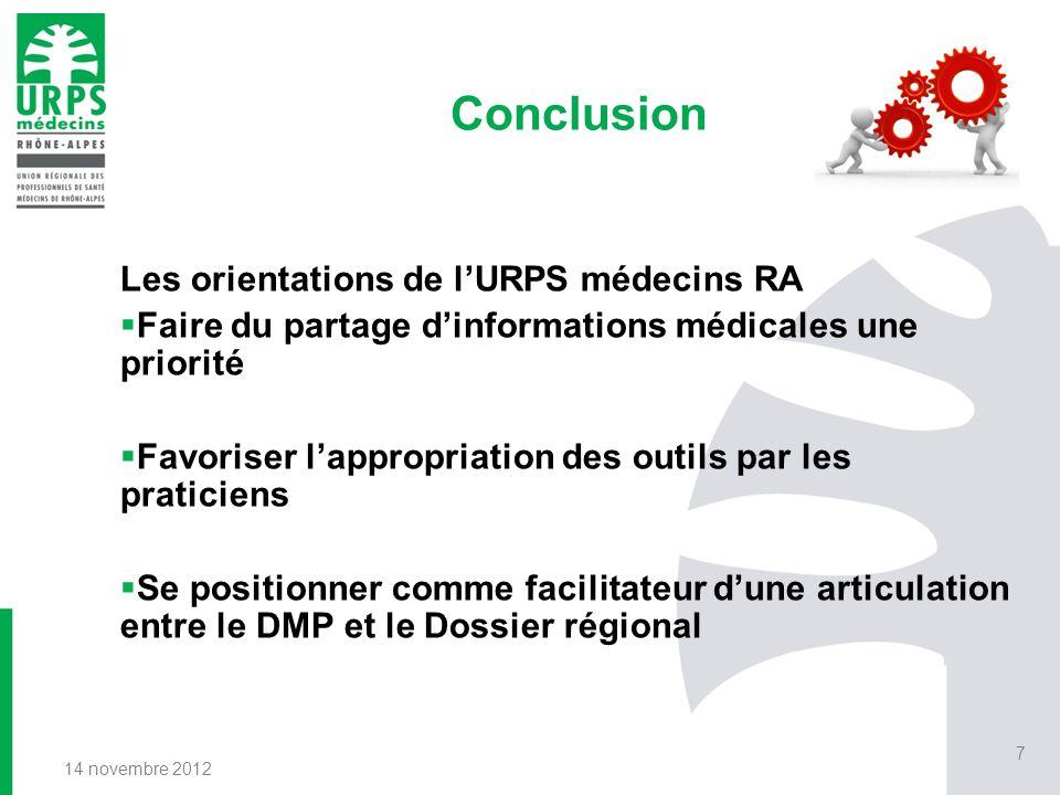 Conclusion Les orientations de l'URPS médecins RA