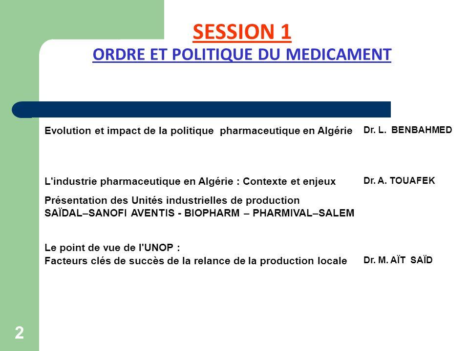 SESSION 1 ORDRE ET POLITIQUE DU MEDICAMENT