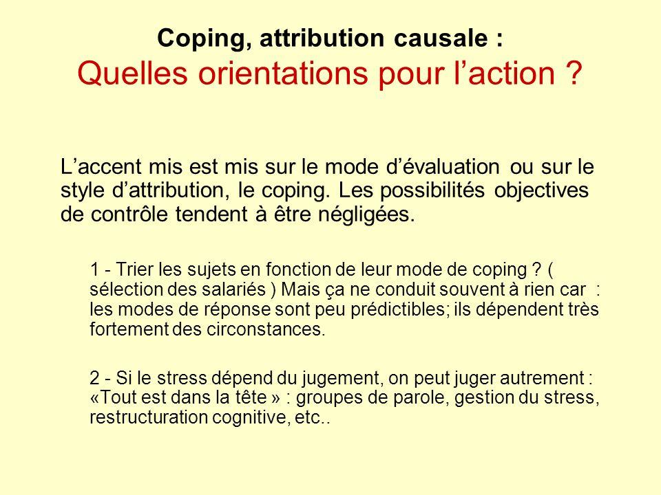 Coping, attribution causale : Quelles orientations pour l'action