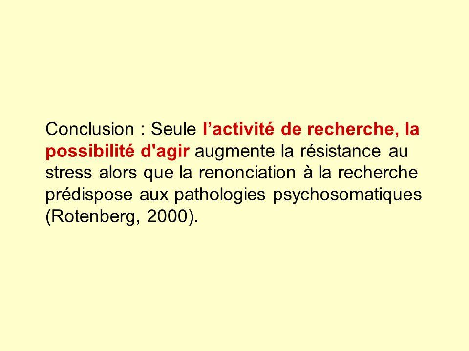 Conclusion : Seule l'activité de recherche, la possibilité d agir augmente la résistance au stress alors que la renonciation à la recherche prédispose aux pathologies psychosomatiques (Rotenberg, 2000).