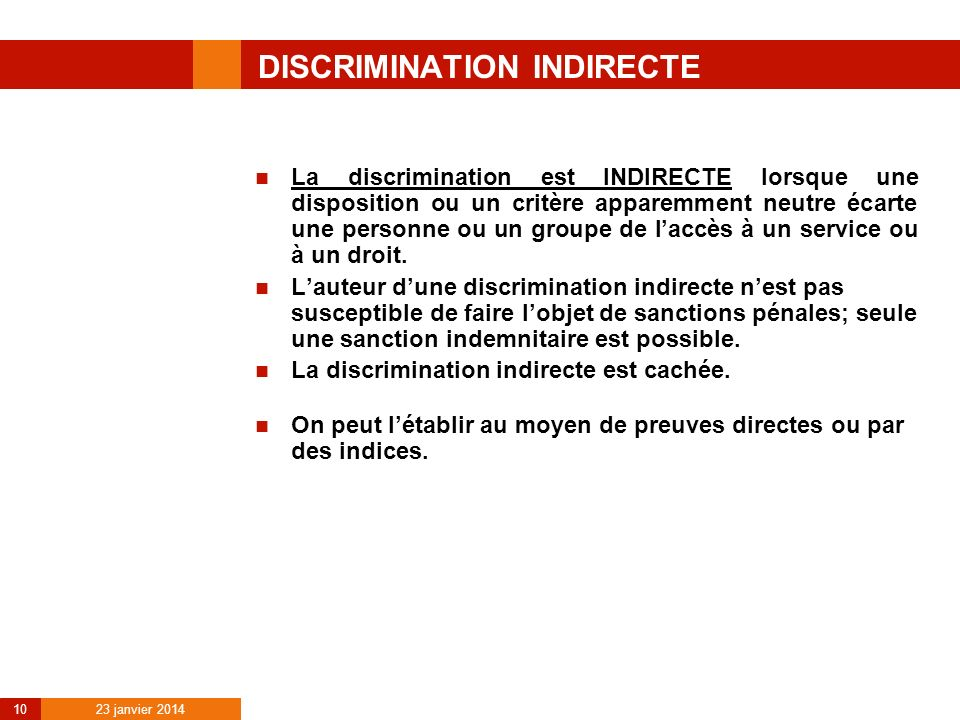 DISCRIMINATION INDIRECTE