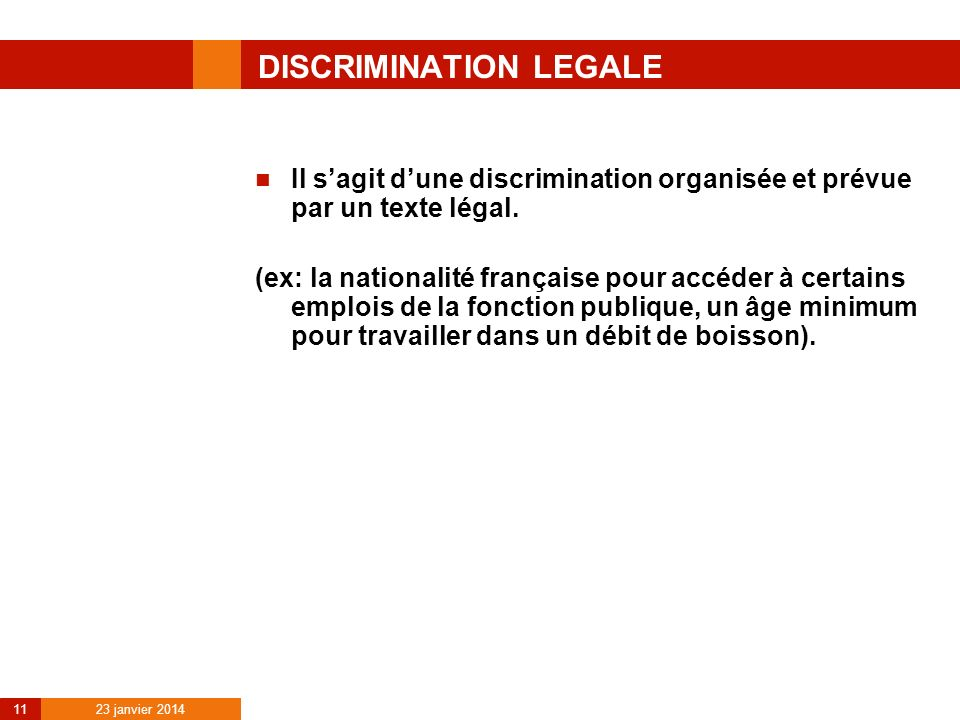 DISCRIMINATION LEGALE