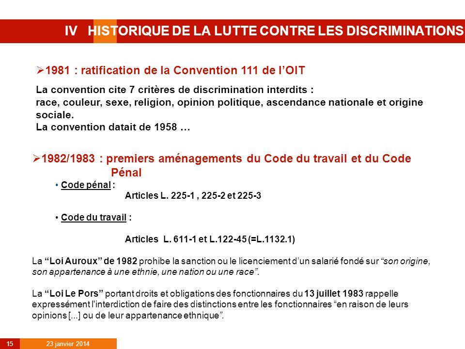 IV HISTORIQUE DE LA LUTTE CONTRE LES DISCRIMINATIONS