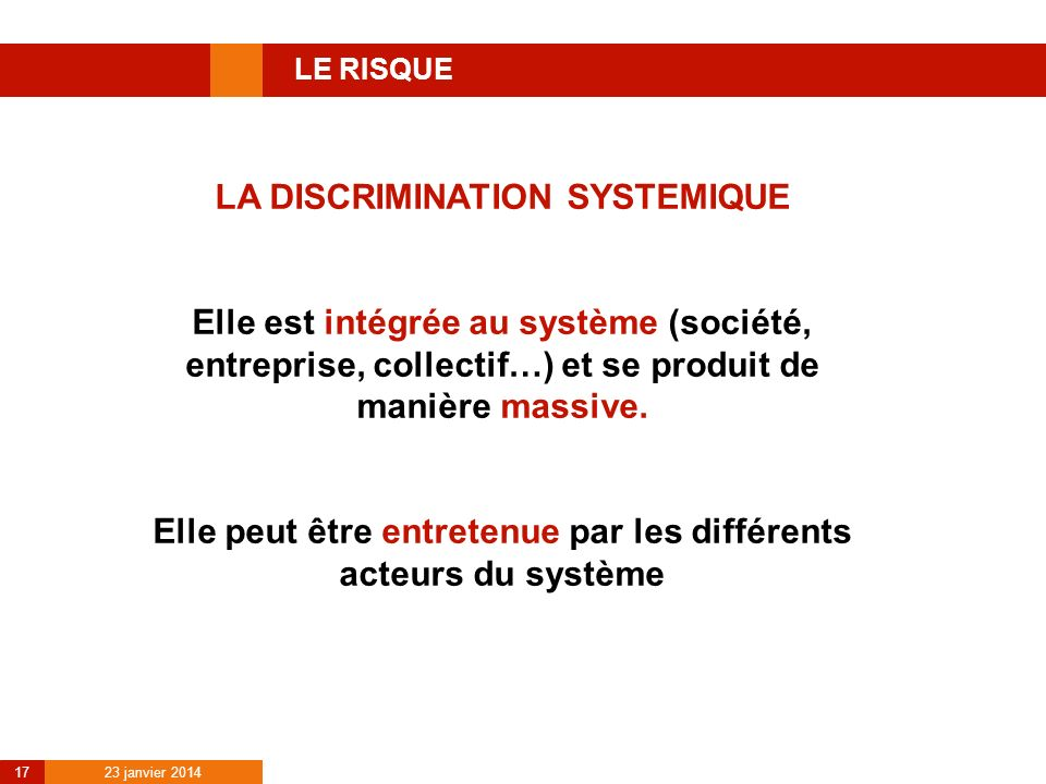 LA DISCRIMINATION SYSTEMIQUE