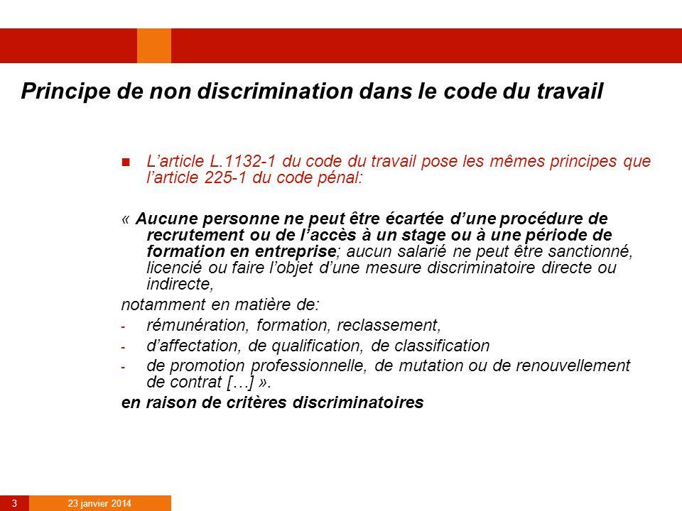 Principe de non discrimination dans le code du travail