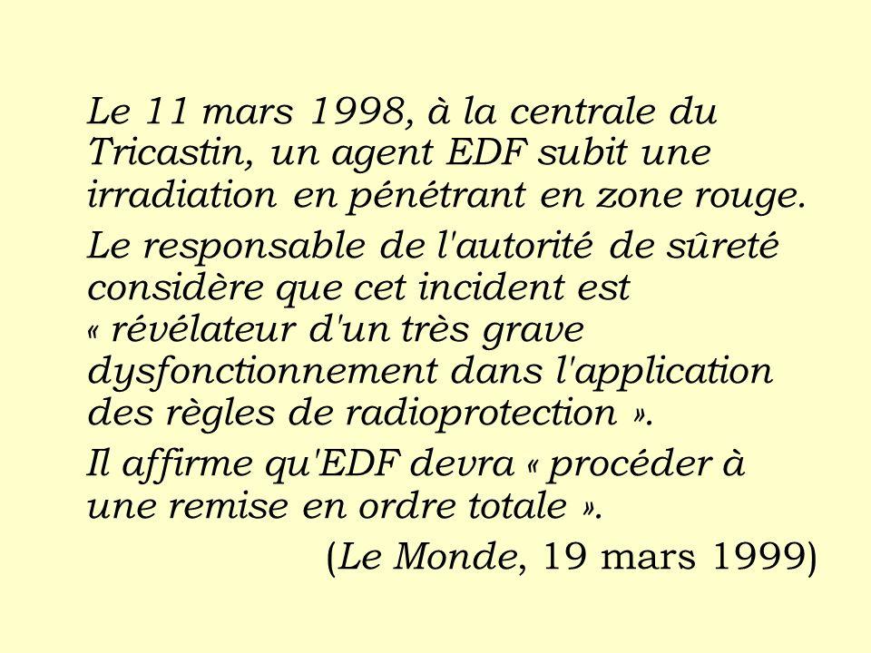 Le 11 mars 1998, à la centrale du Tricastin, un agent EDF subit une irradiation en pénétrant en zone rouge.