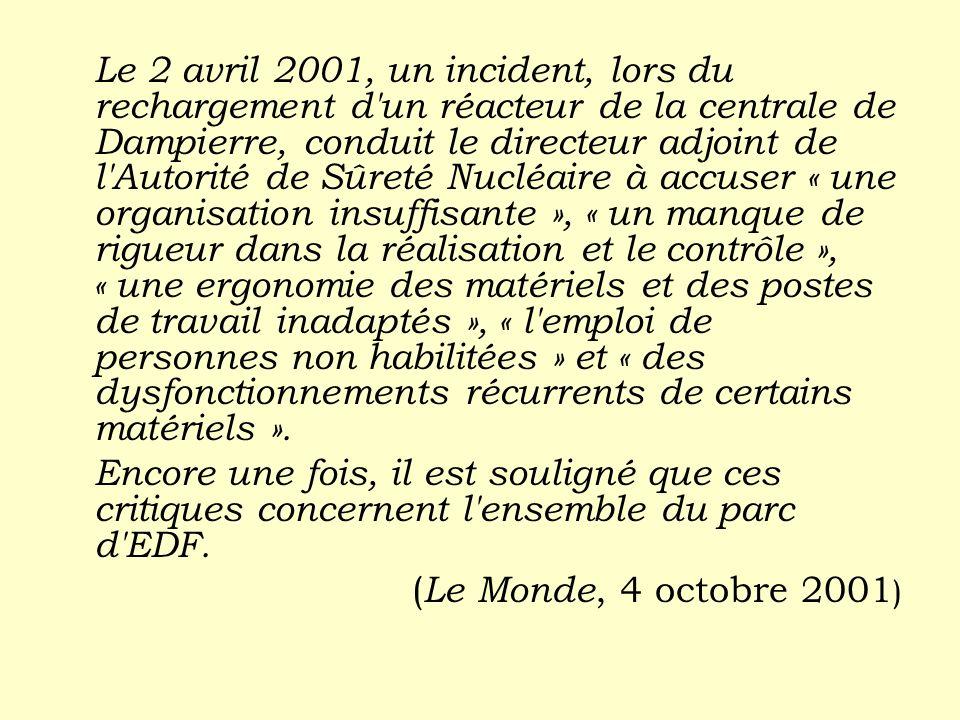 Le 2 avril 2001, un incident, lors du rechargement d un réacteur de la centrale de Dampierre, conduit le directeur adjoint de l Autorité de Sûreté Nucléaire à accuser « une organisation insuffisante », « un manque de rigueur dans la réalisation et le contrôle », « une ergonomie des matériels et des postes de travail inadaptés », « l emploi de personnes non habilitées » et « des dysfonctionnements récurrents de certains matériels ».