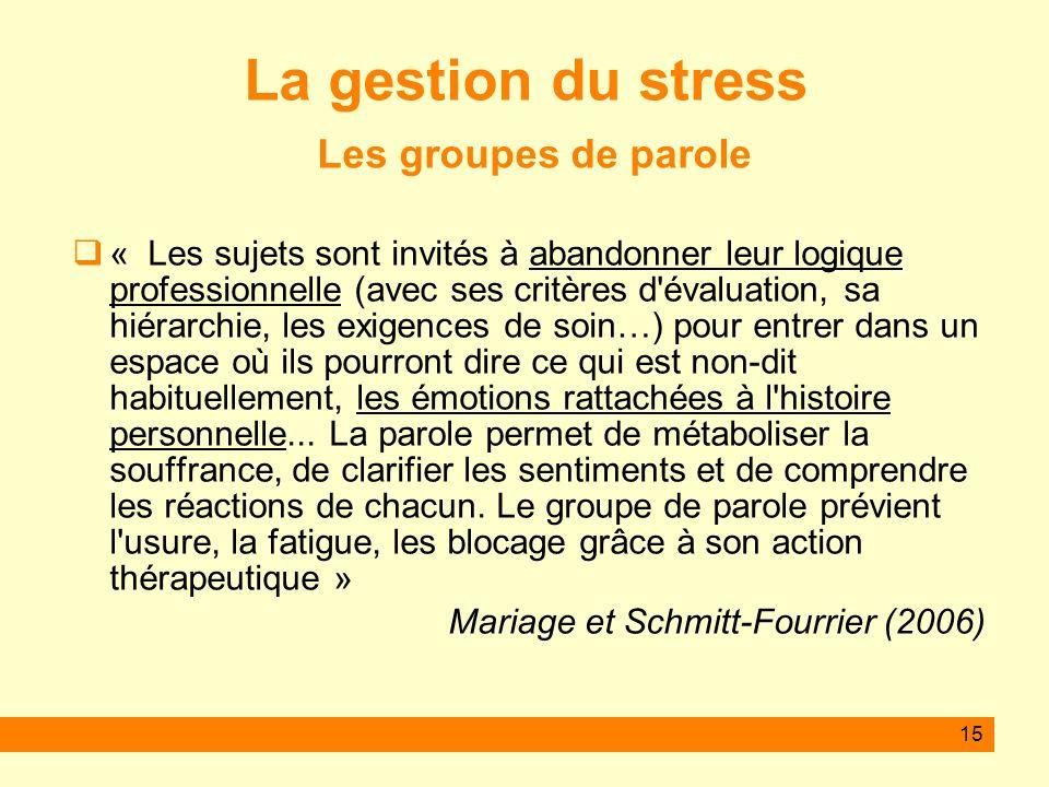 La gestion du stress Les groupes de parole