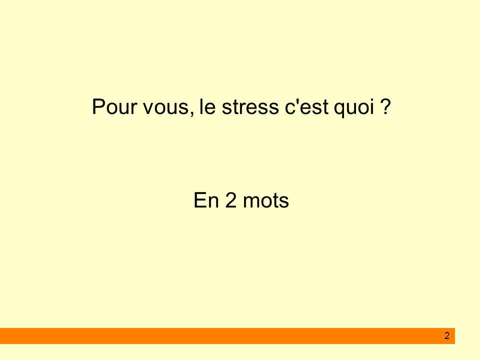 Pour vous, le stress c est quoi
