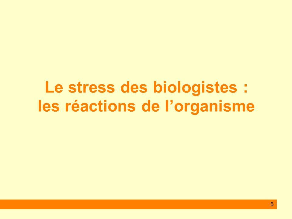 Le stress des biologistes : les réactions de l'organisme