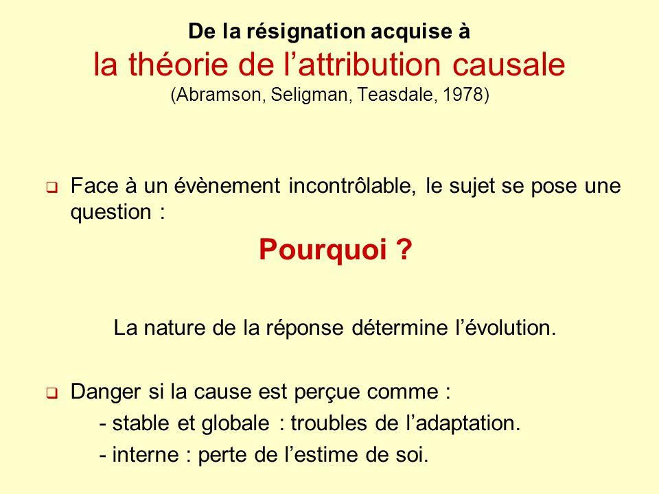 La nature de la réponse détermine l'évolution.
