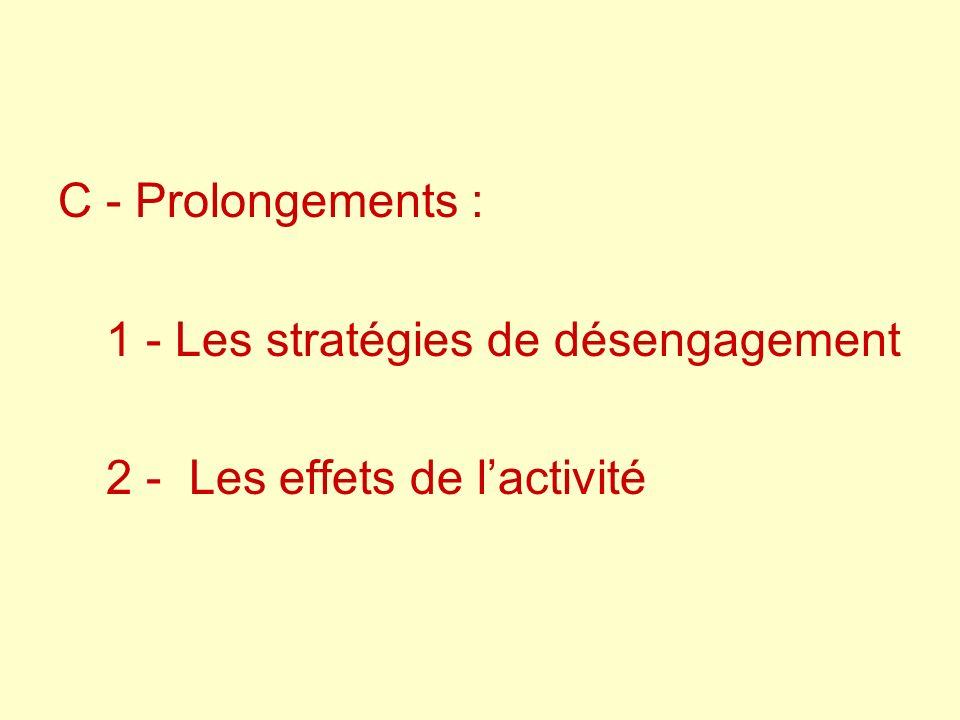 C - Prolongements : 1 - Les stratégies de désengagement 2 - Les effets de l'activité