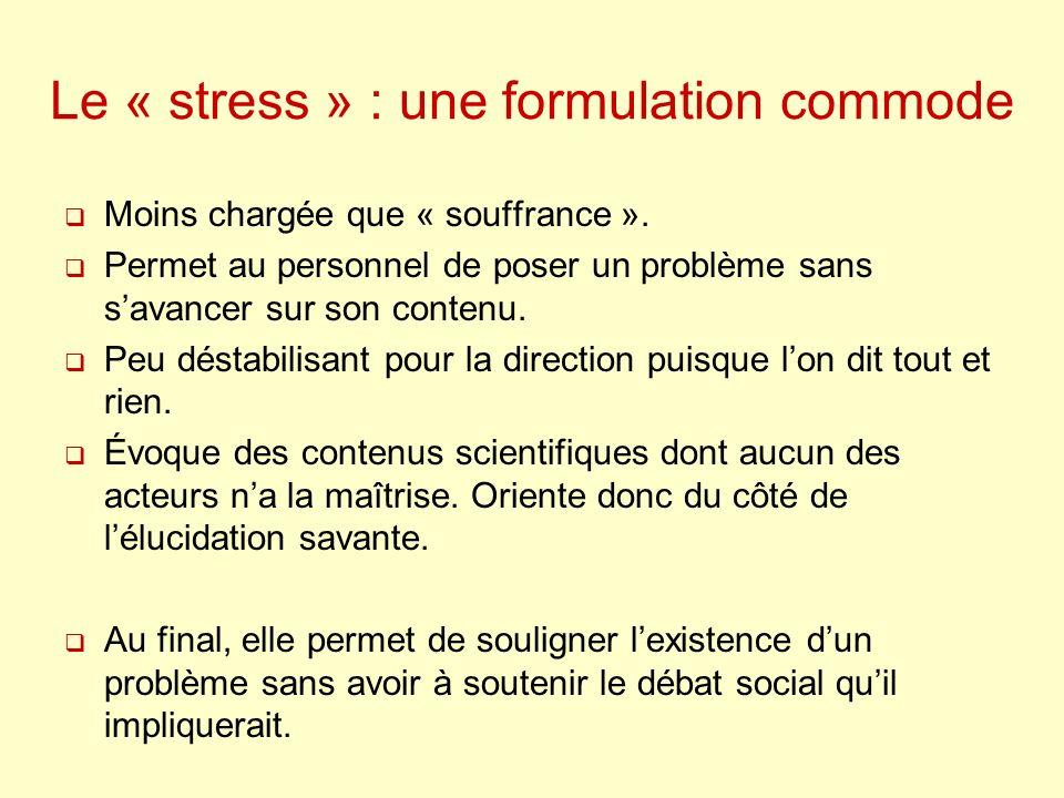 Le « stress » : une formulation commode