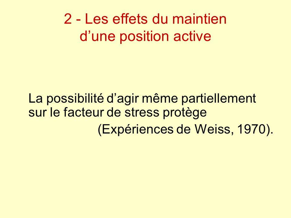 2 - Les effets du maintien d'une position active