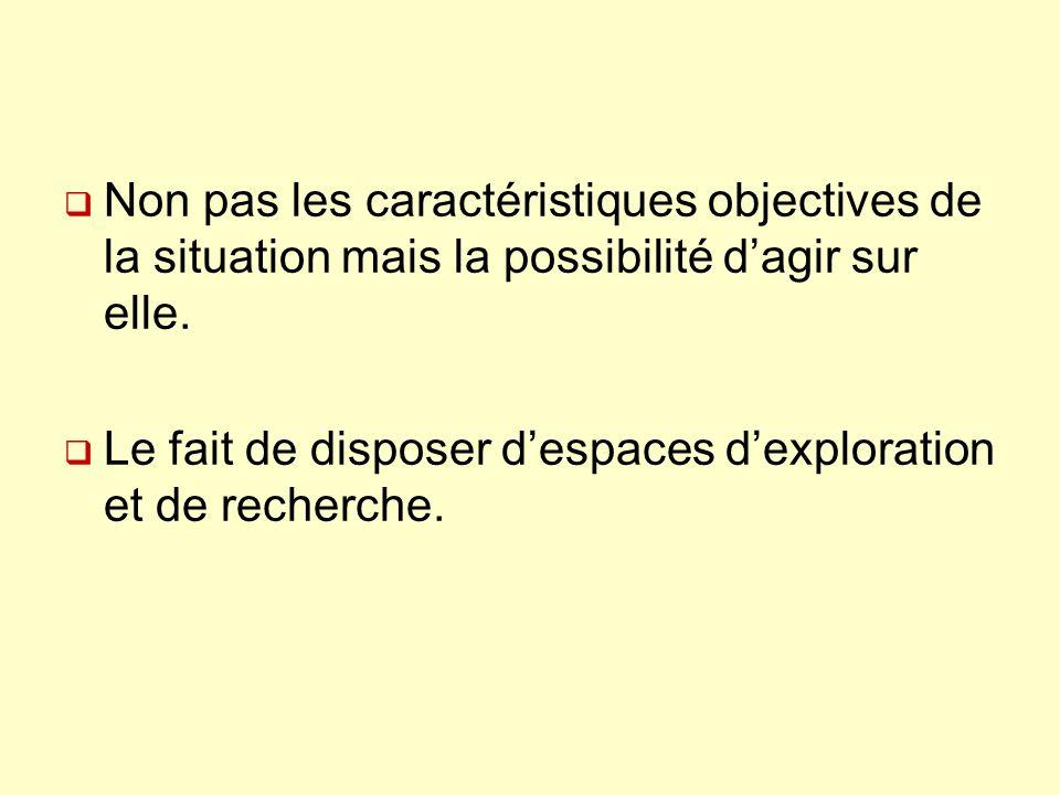 Non pas les caractéristiques objectives de la situation mais la possibilité d'agir sur elle.