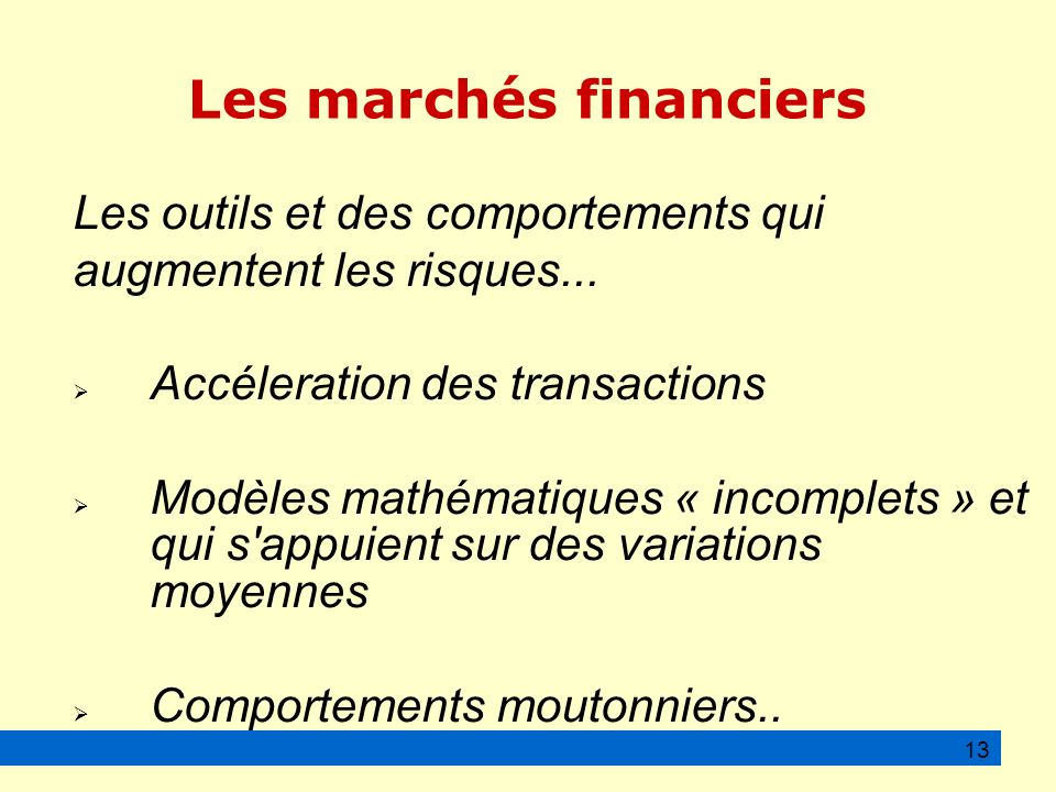 Les marchés financiers