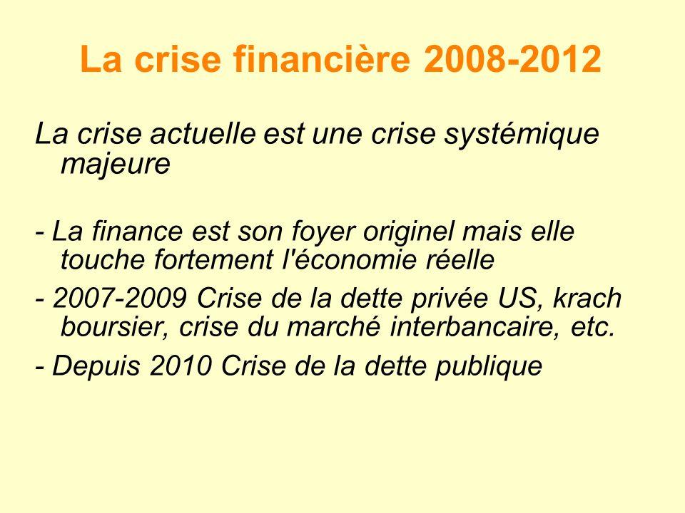 La crise financière 2008-2012 La crise actuelle est une crise systémique majeure.