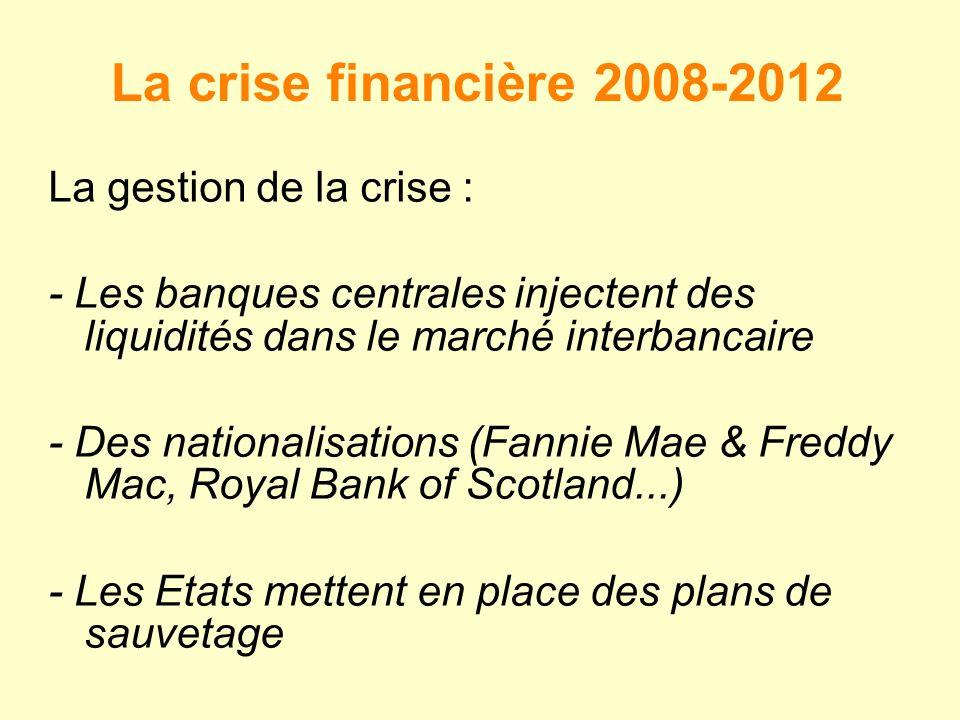 La crise financière 2008-2012 La gestion de la crise :