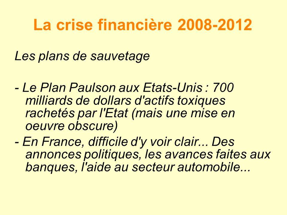 La crise financière 2008-2012 Les plans de sauvetage