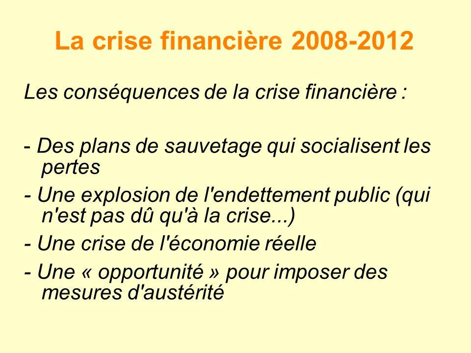 La crise financière 2008-2012 Les conséquences de la crise financière : - Des plans de sauvetage qui socialisent les pertes.