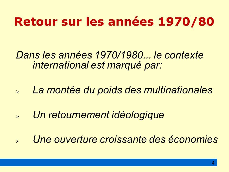 Retour sur les années 1970/80 Dans les années 1970/1980... le contexte international est marqué par: