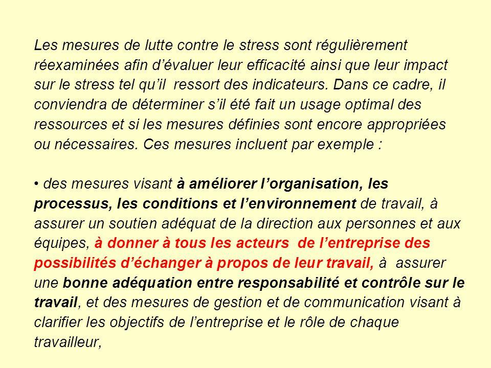 Les mesures de lutte contre le stress sont régulièrement réexaminées afin d'évaluer leur efficacité ainsi que leur impact sur le stress tel qu'il ressort des indicateurs.