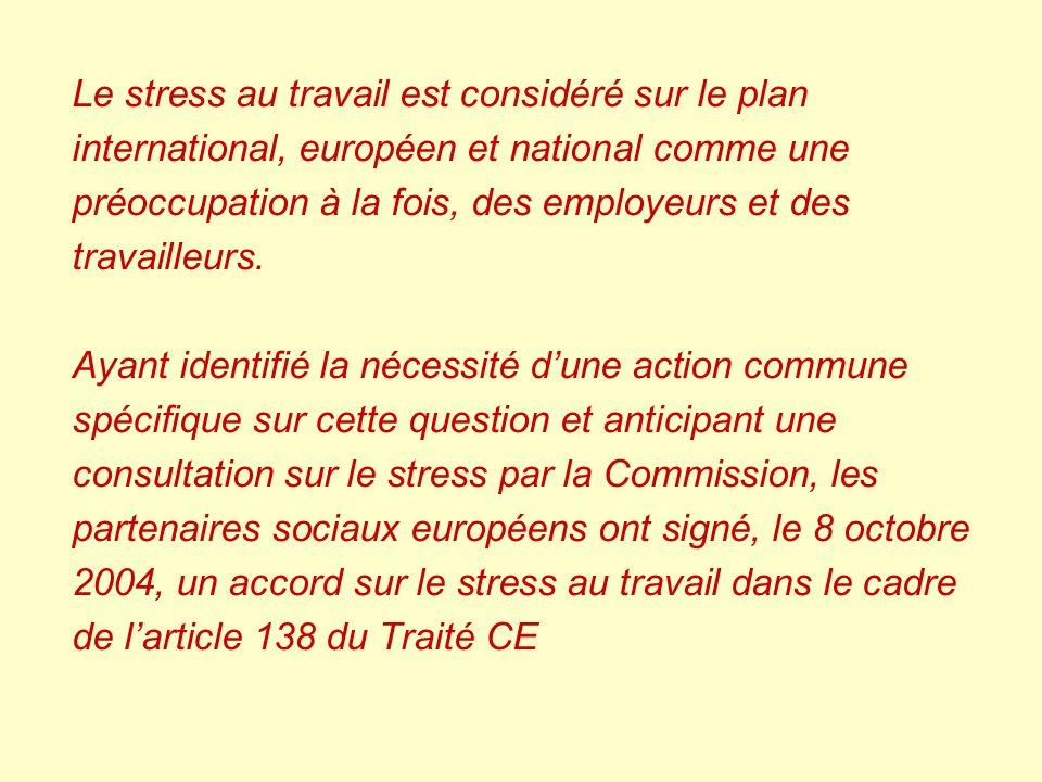 Le stress au travail est considéré sur le plan international, européen et national comme une préoccupation à la fois, des employeurs et des travailleurs.