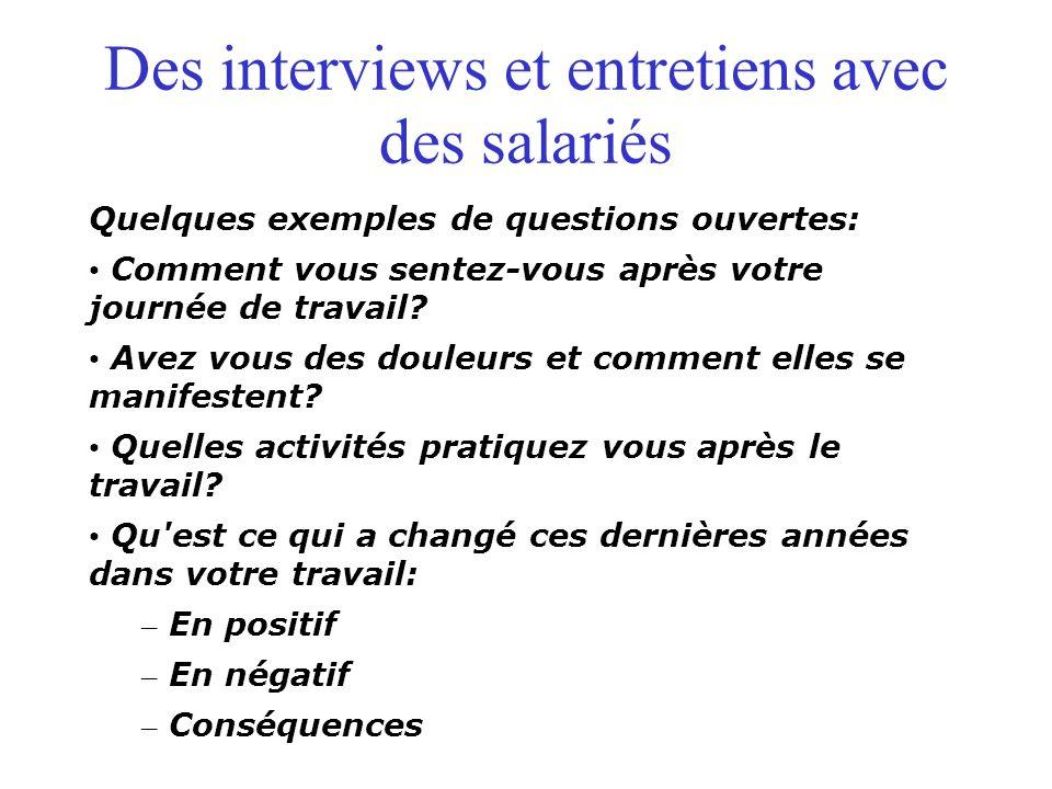 Des interviews et entretiens avec des salariés